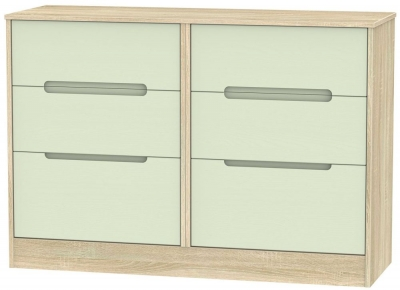 Monaco 6 Drawer Midi Chest - Mussel and Bardolino