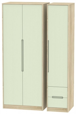 Monaco Mussel and Bardolino Triple Wardrobe - Tall Plain with 2 Drawer