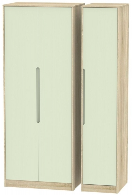 Monaco Mussel and Bardolino Triple Wardrobe - Tall Plain
