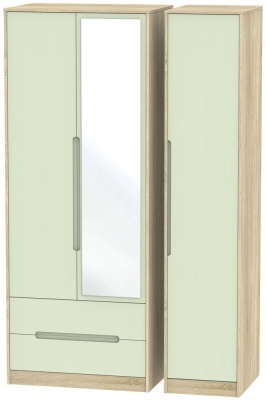 Monaco Mussel and Bardolino Triple Wardrobe - Tall with 2 Drawer and Mirror