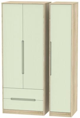 Monaco 3 Door 2 Left Drawer Tall Wardrobe - Mussel and Bardolino