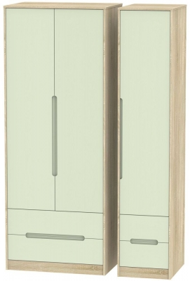 Monaco Mussel and Bardolino Triple Wardrobe - Tall with Drawer