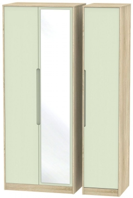 Monaco Mussel and Bardolino Triple Wardrobe - Tall with Mirror