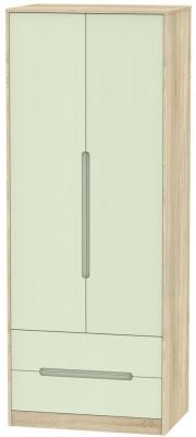 Monaco 2 Door 2 Drawer Tall Wardrobe - Mussel and Bardolino