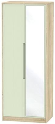 Monaco 2 Door Tall Mirror Wardrobe - Mussel and Bardolino