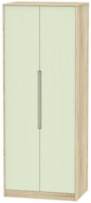 Monaco 2 Door Tall Hanging Wardrobe - Mussel and Bardolino