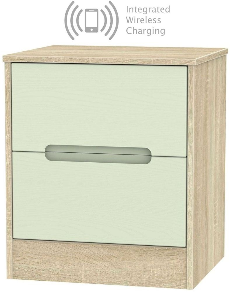 Monaco 2 Drawer Bedside Cabinet with Integrated Wireless Charging - Mussel and Bardolino