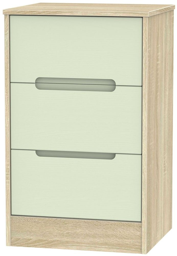 Monaco Mussel and Bardolino Bedside Cabinet - 3 Drawer Locker
