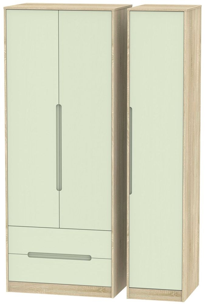 Monaco Mussel and Bardolino Triple Wardrobe - Tall with 2 Drawer
