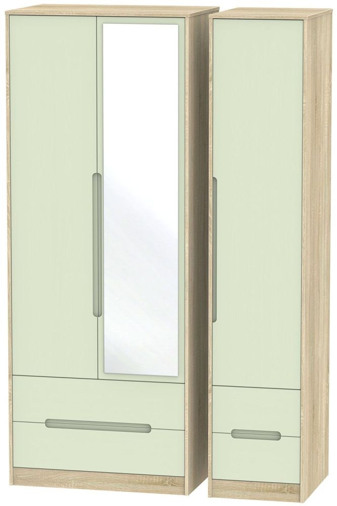 Monaco Mussel and Bardolino Triple Wardrobe - Tall with Drawer and Mirror
