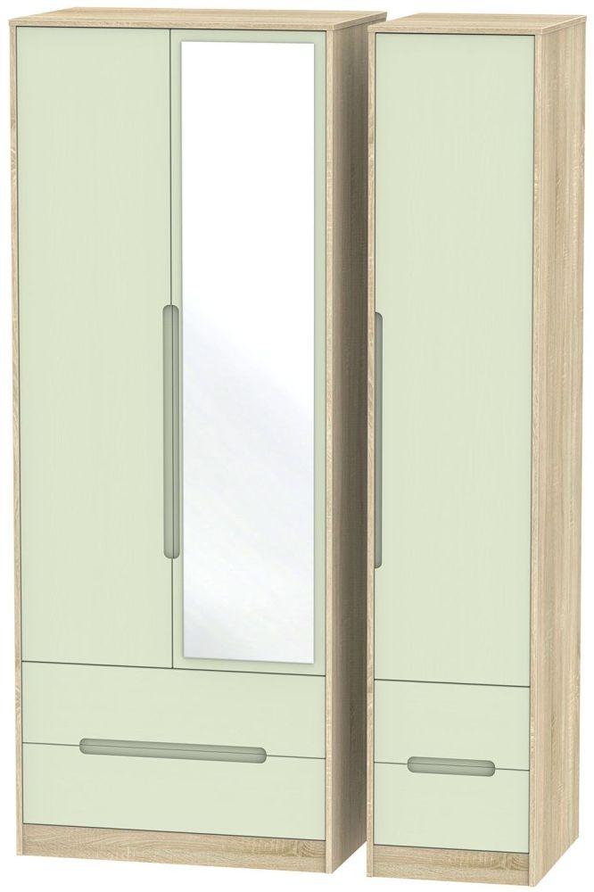Monaco Mussel and Bardolino 3 Door 4 Drawer Tall Mirror Triple Wardrobe