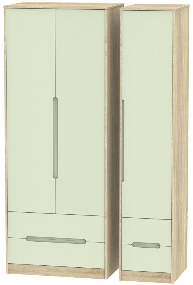 Monaco 3 Door 4 Drawer Tall Wardrobe - Mussel and Bardolino