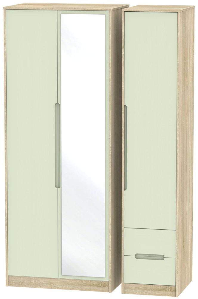 Monaco Mussel and Bardolino Triple Wardrobe - Tall with Mirror and 2 Drawer