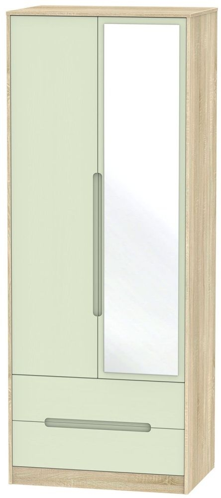 Monaco Mussel and Bardolino 2 Door 2 Drawer Tall Mirror Double Wardrobe