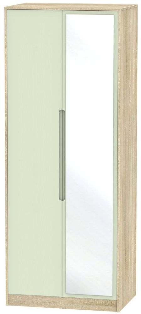 Monaco Mussel and Bardolino Wardrobe - Tall 2ft 6in with Mirror