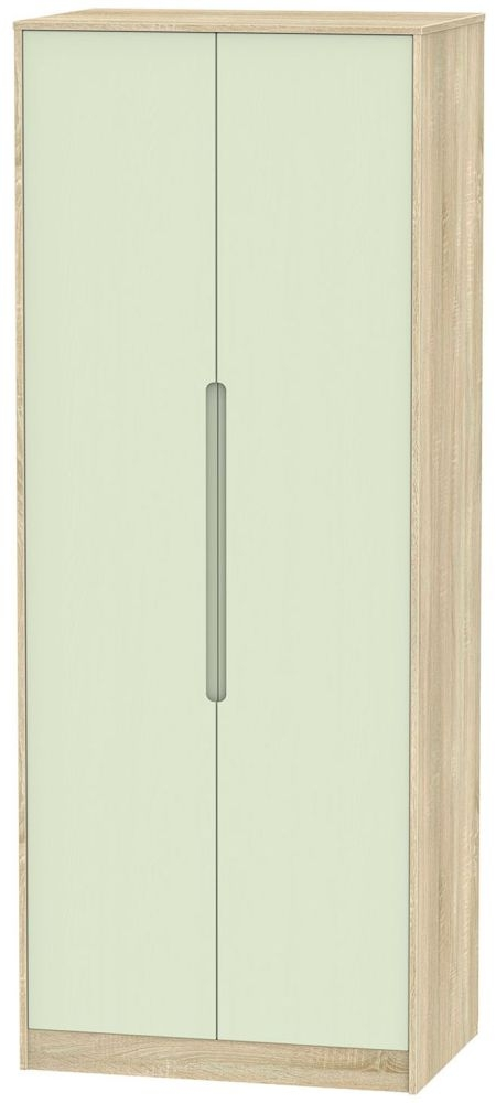 Monaco 2 Door Tall Hanging Wardrobe - Mussel and Bardolino