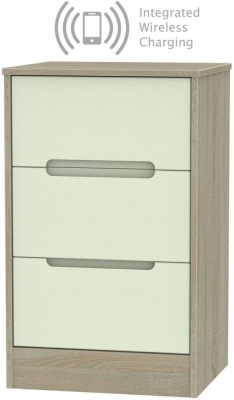 Monaco 3 Drawer Bedside Cabinet with Integrated Wireless Charging - Mussel and Darkolino