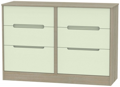 Monaco Mussel and Darkolino Chest of Drawer - 6 Drawer Midi
