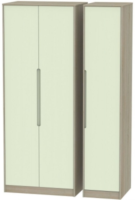 Monaco 3 Door Tall Wardrobe - Mussel and Darkolino