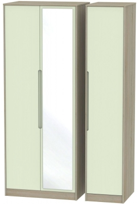 Monaco Mussel and Darkolino Triple Wardrobe - Tall with Mirror