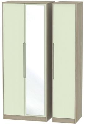 Monaco 3 Door Tall Mirror Wardrobe - Mussel and Darkolino