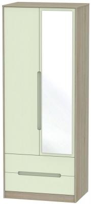 Monaco 2 Door Combi Wardrobe - Mussel and Darkolino