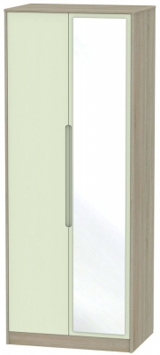 Monaco 2 Door Tall Mirror Wardrobe - Mussel and Darkolino