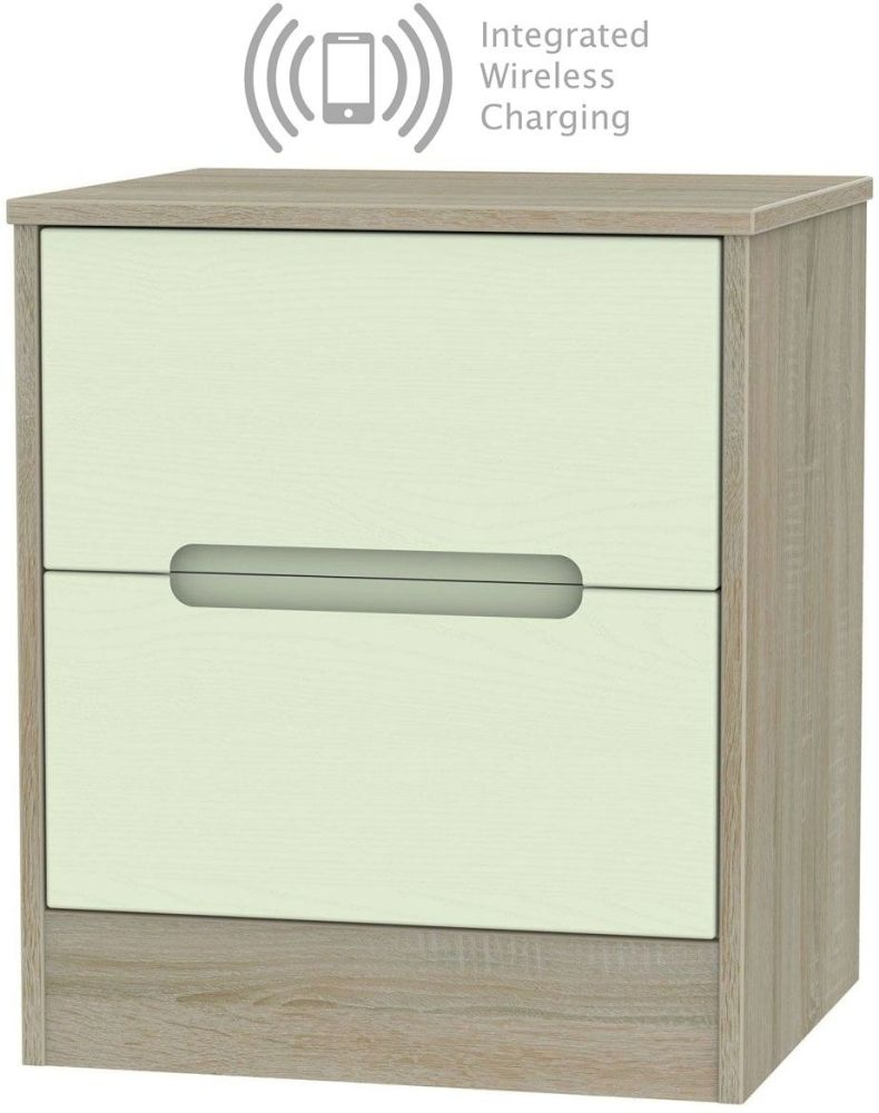 Monaco 2 Drawer Bedside Cabinet with Integrated Wireless Charging - Mussel and Darkolino