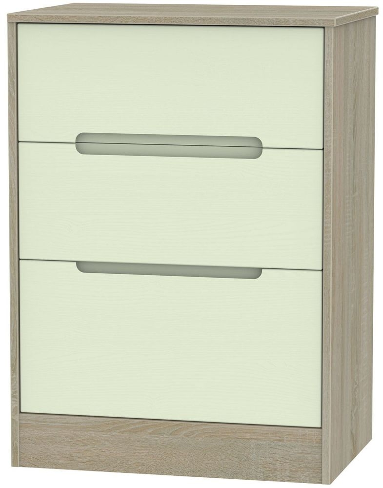 Monaco Mussel and Darkolino Chest of Drawer - 3 Drawer Deep Midi