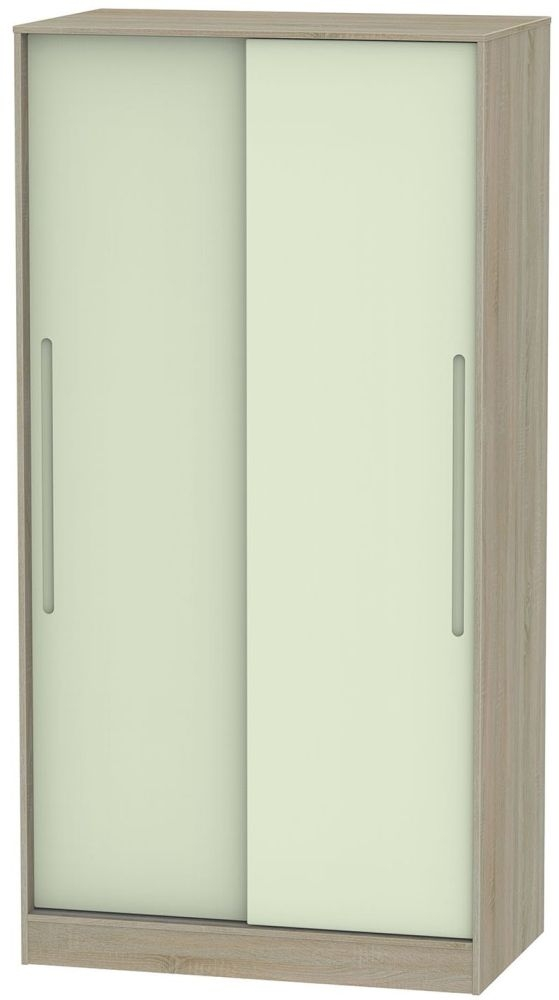 Monaco Mussel and Darkolino 2 Door Wide Sliding Wardrobe