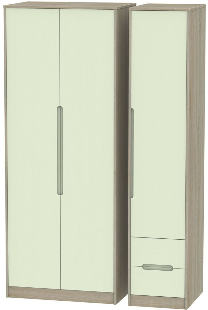 Monaco Mussel and Darkolino Triple Wardrobe - Tall Plain with 2 Drawer