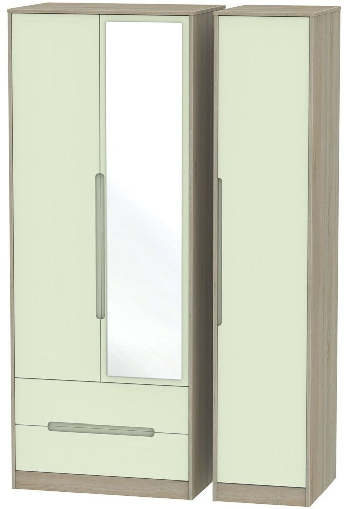 Monaco Mussel and Darkolino Triple Wardrobe - Tall with 2 Drawer and Mirror
