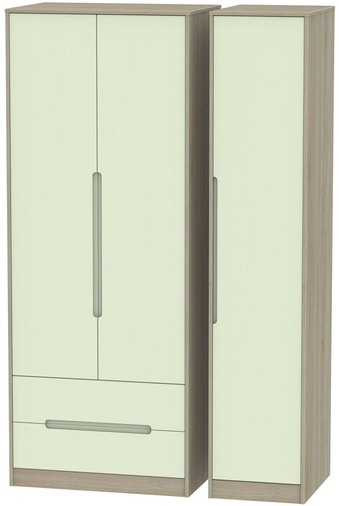 Monaco Mussel and Darkolino Triple Wardrobe - Tall with 2 Drawer