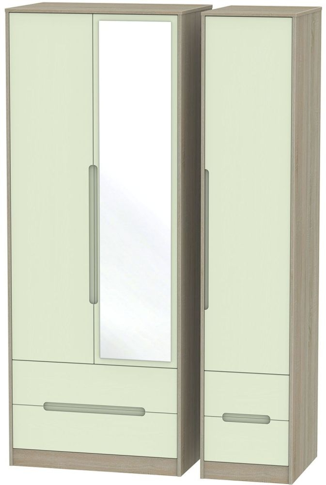 Monaco Mussel and Darkolino Triple Wardrobe - Tall with Drawer and Mirror