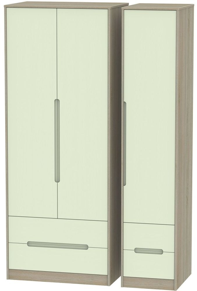 Monaco Mussel and Darkolino Triple Wardrobe - Tall with Drawer
