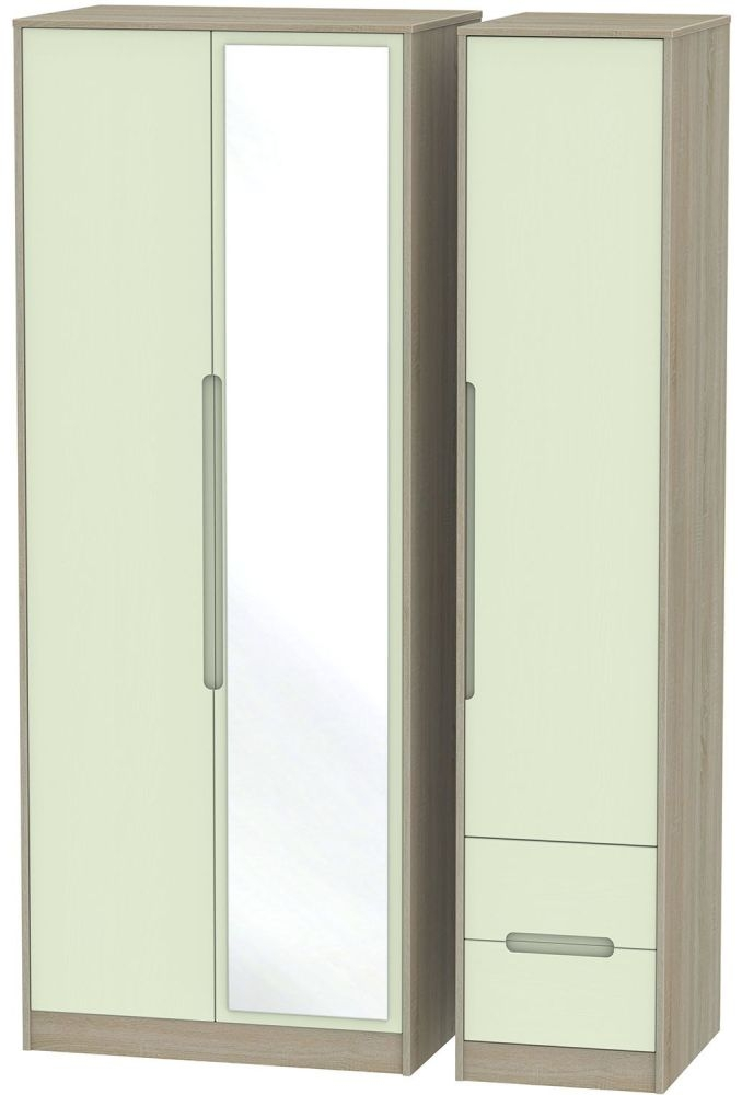 Monaco Mussel and Darkolino Triple Wardrobe - Tall with Mirror and 2 Drawer