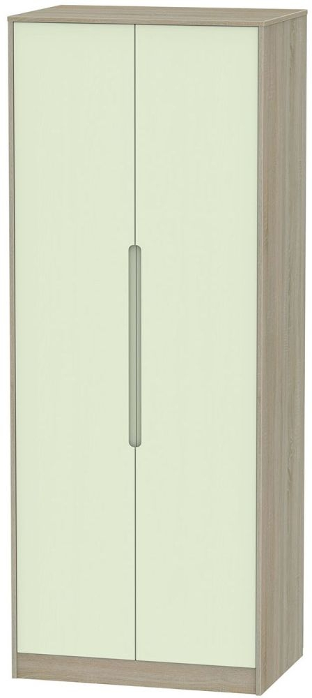 Monaco Mussel and Darkolino 2 Door Tall Plain Double Wardrobe