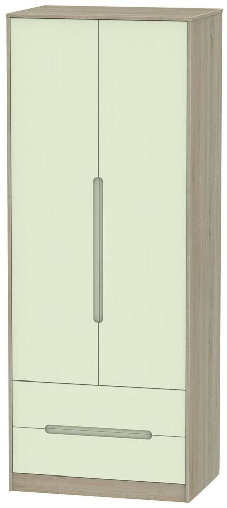 Monaco 2 Door 2 Drawer Tall Wardrobe - Mussel and Darkolino