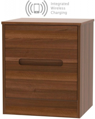 Monaco Noche Walnut 2 Drawer Bedside Cabinet with Integrated Wireless Charging