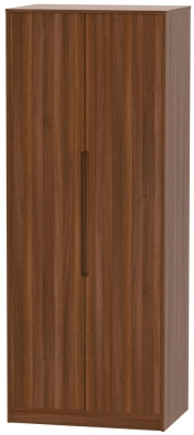 Monaco Noche Walnut 2 Door Tall Plain Double Wardrobe