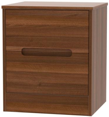 Monaco Noche Walnut 2 Drawer Bedside Cabinet