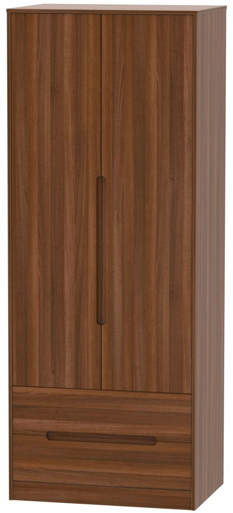 Monaco Noche Walnut 2 Door 2 Drawer Tall Double Wardrobe