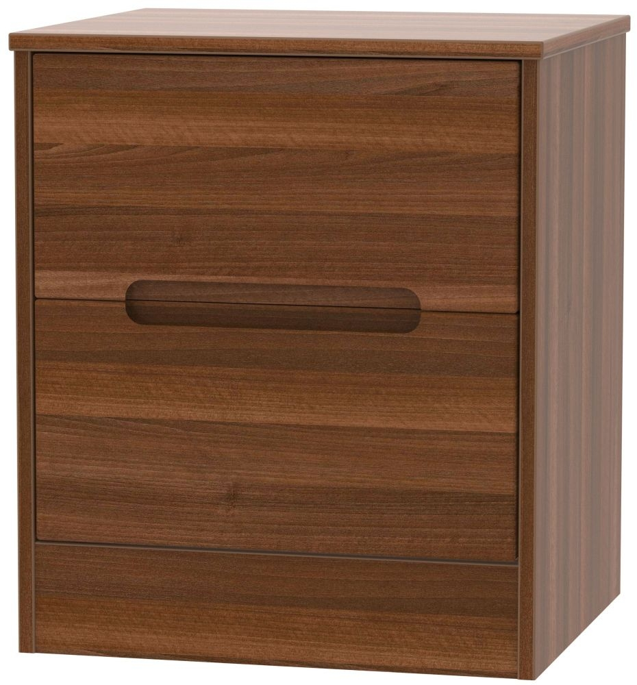 Monaco Noche Walnut 2 Drawer Locker Bedside Cabinet