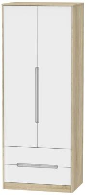 Monaco 2 Door 2 Drawer Tall Wardrobe - White Matt and Bardolino