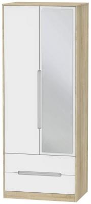 Monaco 2 Door Tall Combi Wardrobe - White Matt and Bardolino
