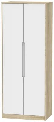 Monaco 2 Door Tall Hanging Wardrobe - White Matt and Bardolino