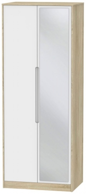 Monaco 2 Door Tall Mirror Wardrobe - White Matt and Bardolino