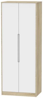 Monaco 2 Door Tall Wardrobe - White Matt and Bardolino