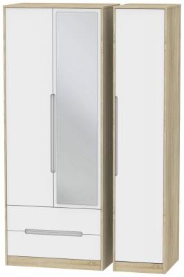 Monaco 3 Door 2 Left Drawer Tall Combi Wardrobe - White Matt and Bardolino