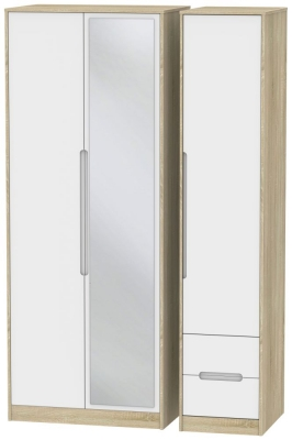 Monaco 3 Door 2 Right Drawer Tall Combi Wardrobe - White Matt and Bardolino